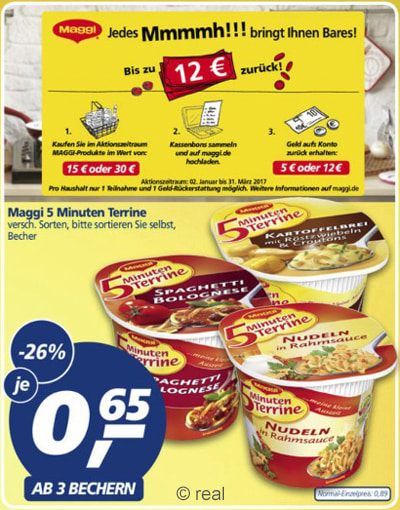 Maggi Cashback bei real
