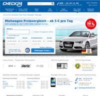 CHECK24 Mietwagen-Homepage