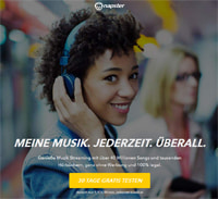 Napster-Homepage