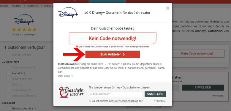 Disney Plus Gutschein
