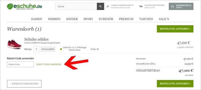 9f2130f61d65bd eschuhe.de Gutscheine  45€ + 50% einlösbar im Mai 2019