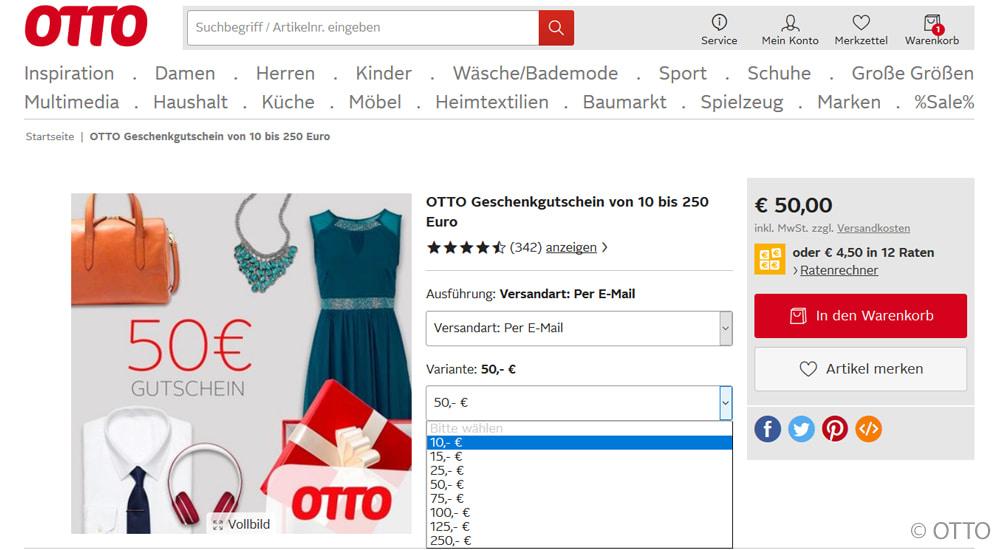 Geschenkgutschein Otto